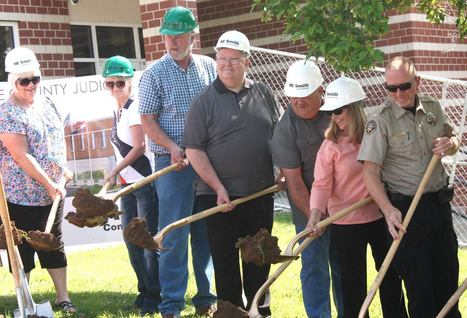 Stone County Commissioners and elected officials break ground for the Judicial Center Expansion