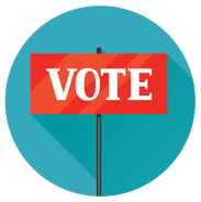 Graphic of a VOTE sign